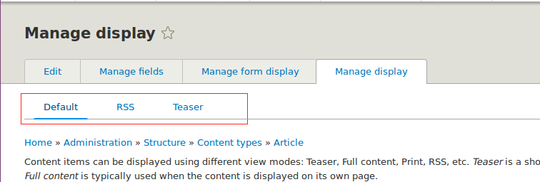 Drupal 8 manage display tabs