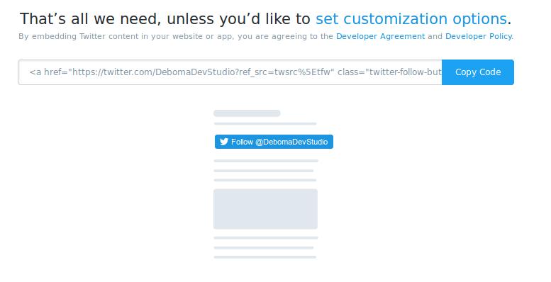 Copy the Twitter Follow Button code